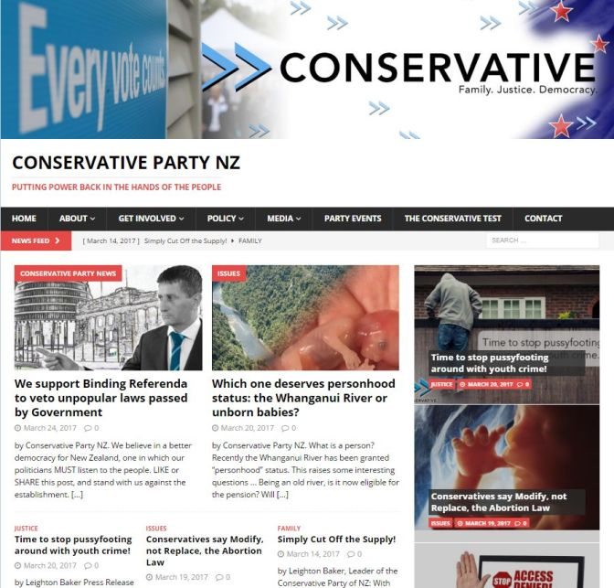 CONSERVATIVE PARTY NZ Fiscal & Social Conservative Political Party